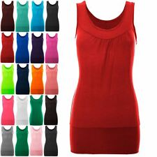 New Womens Ladies Sleeveless Ruched Vest Gathered Neck Ruched Stretch Long Top