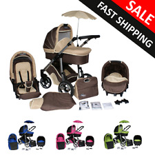 Baby Pram Complete Travel System Pushchair 3in1 Carrycot Buggy Optional Car Seat