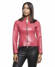 Giacca in pelle donna GENY • colore fuxia • giacca biker in pelle trapuntata nap