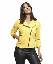 Giacca in pelle donna KCC • colore giallo • giacca in pelle biker pelle camoscio