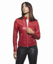 Giacca in pelle donna GIULIA • colore rosso • giacca biker in pelle pull up effe