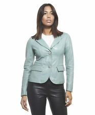 Giacca in pelle donna BLAZER • colore verde • giacca in pelle naturale due botto