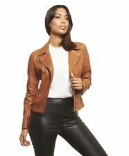 Giacca in pelle donna KBC • colore cuoio • giacca in pelle biker pull up effetto