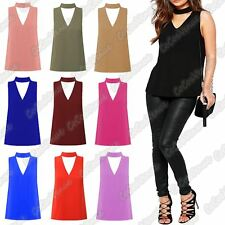 New Ladies Sleeveless Plain Choker V Neck Collar Cut Out Plunge Vest T-Shirt Top