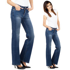 New 60s 70s Blue Faded Stretch Bootcut Flared Jeans Bellbottom Denim Flares