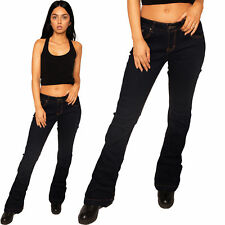 New Ladies Womens Low Rise Hipster Dark Blue Indigo Bootcut Flared Jeans Pants