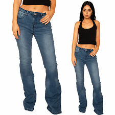 New Womens Ladies Mid Rise Wide Flared Jeans Blue Faded Denim Flares Long Leg