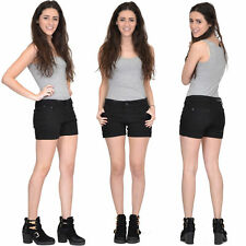 New Womens Ladies Black Fitted Stretch Denim Hot Pants Jean Shorts