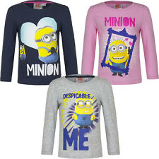 Neuf Pull Shirt à Manches Longues Fille Minions Rose Gris Bleu 98 104 116 128
