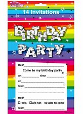 Unisex Funky Birthday Party Invites & Envelopes Pack of 14 Fancy Party Accessory