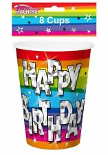Pack of 8 Funky Happy Birthday Party Cups Childs Fancy Party Tableware Accessory