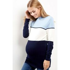 New Ex New Look Maternity Jumper Top 12 - 18 Blue Navy White Panel High Neck