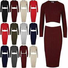 Womens Rib Knit Crop Cropped Top Fit Ladies Pencil Midi Bodycon Skirt Co Ord Set