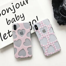 Clear Love Hearts Pattern Soft Silicone Slim Phone Case Cover For iPhone X 8 7 6