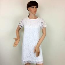 WOMANS WHITE LIGHTWEIGHT FLORAL LACE MINI DRESS - LADIES GIRLS FLOWER FROCK GOWN