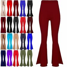 Womens High Waisted Ruffle Frill Bell Bottom Ladies Palazzo Cigarette Trousers