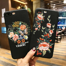 Retro Beautiful Flowers Embroidery Pattern Soft TPU Phone Case Cover For iPhone