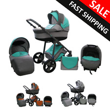 Baby Pram Stroller Pushchair Complete Travel System 3in1 Carrycot Buggy Car seat
