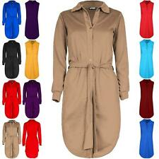 Women Ladies Curved Hem Button Down Belted Long Sleeve Collared Mini Shirt Dress