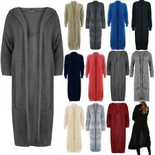 Womens Oversized Cable Knitted Knit Open Front Hooded Pocket Baggy Midi Cardigan