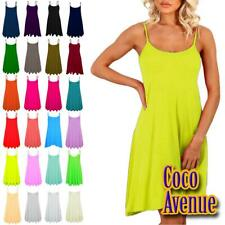 New Ladies Sleeveless Plain Flare Camisole Long Cami Swing Dress Summer Vest Top