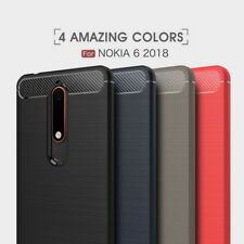 Fashion Ultra Slim Carbon Fiber Soft Silicon Back Phone Case Cover For Nokia 6