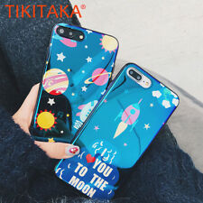Luxury Cute Cartoon Blu-Ray Laser Planet Moon Star Phone Case Cover For iPhone