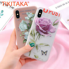 Vintage Flower Rose Floral Leaves Silicone Phone Case Cover For iPhone X 8 7 6 5