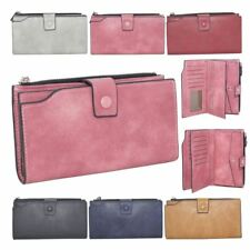 New Ladies Plain Synthetic Leather Large Simple Purse Wallet