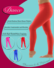 Girls High Waisted Shiny Dance Disco Leggings - Ages 5-12 - Available in Colors