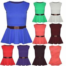 Womens Ladies Gold Belt Buckle Sleeveless Stretchy Peplum Flare Frill Blouse Top