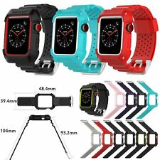 Rugged Armor Case & TPE Wrist Band Straps for Apple Watch Series 3 2 1 42/38mm