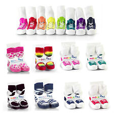 Babies Mocc Ons - Baby Slippers Moccasin Sock Ons - 6-12 Months Boys/Girls