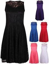New Women Ladies Sleeveless Floral Line Lace Flare Skater Swing Dress Top