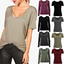 Ladies Womens Round V Strap Neckline Baggy Long Sleeve Basic Casual Tee T Shirt