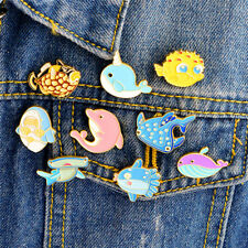 Esmalte delfín broche PIN dibujos animados mar animal camisa collarPIN insignia