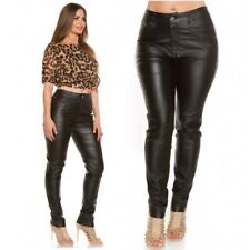 Curvy Stylish Plus Size Leather Look Black Trousers jeans UK 12 14 16 18 20