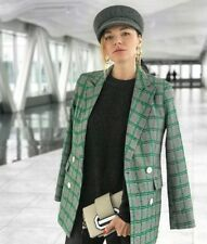TOPSHOP Premium Black White Green Double Breasted Checked Jacket Blazer UK 8