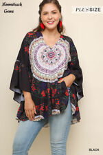 UMGEE Black Medallion And Floral Print Boho Tunic Top Plus Sz XL 1XL 2XL