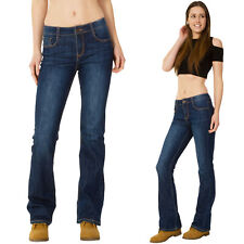 New Womens Ladies Dark Blue Mid Rise Bootcut Flared Stretch Jeans Denim Flares