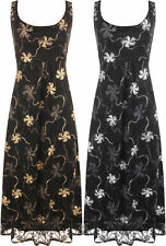New Womens Floral Lace Flared Sleeveless Belted Lined Ladies Party Maxi Dress