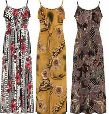 New Ladies Floral Strappy Print Frill Layered Long Maxi Summer Nice Casual Dress