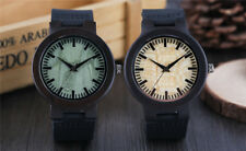 Creative Quartz Wooden Watch Black Leather Band Wood Wristwatch Bracelet Gifts