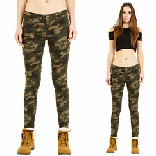 Womens Low Rise Slim Skinny Stretch Dark Green Camouflage Trousers Pants Jeans