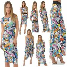 Womens Ladies Bang Print Maxi Pencil Skirt Romper Jumpsuit Crop Top Midi Dress