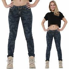 New Ladies Womens Slim Skinny Distressed Blue Camouflage Denim Jeans Trousers