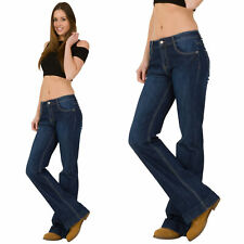 New Womens Ladies Indigo Blue Bootcut Flared Stretch Mid Rise Jeans Denim Flares