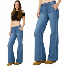 New Womens Light Blue Faded Mid Rise Lightweight Flares Flared Bellbottom Jeans