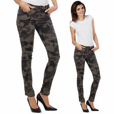 Womens Army Military Brown Camouflage Slim Pants Skinny Stretch Jeans Trousers