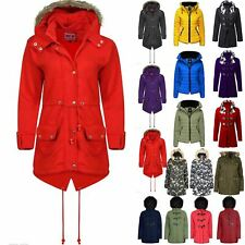 Ladies Womens Faux Fleece Fur Zip Up Hooded Pocket Winter Long Coat Parka Jacket
